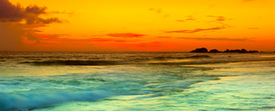 Sunset over the sea. Panorama Stock Image