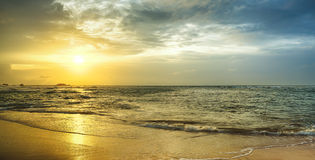 Sunset over the sea. Panorama Stock Photo