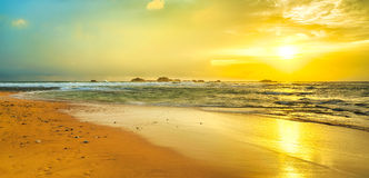 Sunset over the sea. Panorama Royalty Free Stock Images