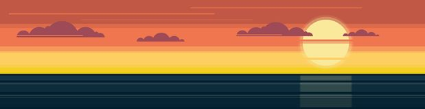 Sunset over the sea. Panorama. royalty free illustration
