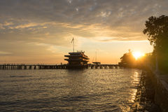 Sunset over the sea port of Sukhumi, Abkhazia Stock Photo