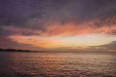 At sunset. Sunset over the sea in Provence Royalty Free Stock Photography