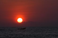 Sunset over sea in Puerto Escondido royalty free stock images