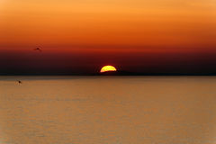 Sunset over the sea at Rodi Garganico Stock Photography