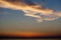 Sunset over the sea at Rodi Garganico Stock Photos