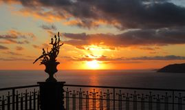 Sunset over the sea of Sanremo Royalty Free Stock Photography