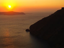 Sunset over the sea in Santorini, Greece Royalty Free Stock Photography