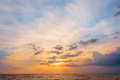 Sunset over the sea. Scenic sunset over the sea stock images