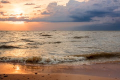 Sunset over the sea before the storm Royalty Free Stock Image