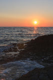 Sunset over the sea during summer evening in Croatia Royalty Free Stock Photography
