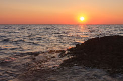 Sunset over the sea during summer evening in Croatia Royalty Free Stock Photo