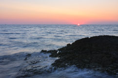Sunset over the sea during summer evening in Croatia Royalty Free Stock Images