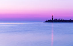 Sunset over sea. Twilight, Purple sky Royalty Free Stock Photography