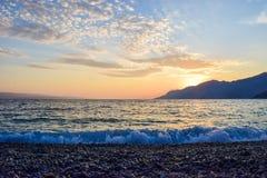 Sunset over the sea. Wonderful sunset on the Punta Rata Beach, Brela, Croatia royalty free stock photography