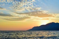 Sunset over the sea. Wonderful sunset on the Punta Rata Beach, Brela, Croatia stock image