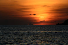 Sunset over sea at Ya Nui beach Stock Photo