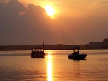 Sunset over Seabrook Harbor royalty free stock images