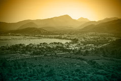 Sunset. Over seaside city, Mallorca, Spain Stock Images