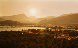 Sunset. Over seaside city, Mallorca, Spain Royalty Free Stock Images
