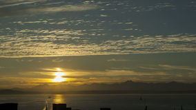 Sunset over Seattle Bay stock footage