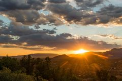 Sunset over Sedona AZ. View of the sunset over Sedona AZ from viewpoint with clouds Royalty Free Stock Image