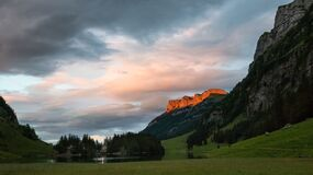 Sunset over Seealpsee lake Stock Photos