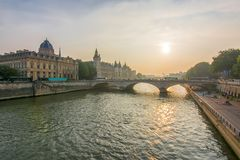 Sunset over Seine river, Paris, France royalty free stock image