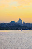 Sunset over Seoul city from Mapo bridge Royalty Free Stock Images