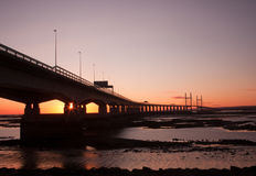 Sunset over Severn Bridge Royalty Free Stock Image