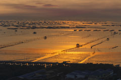 Sunset over shell farm in the sea Stock Images