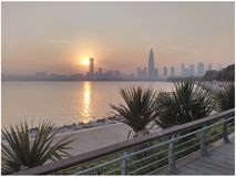Shenzhen city and sunset. Sunset over the Shenzhen city in China Royalty Free Stock Images