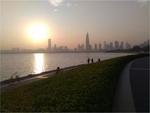 Sunset over Shenzhen royalty free stock photo