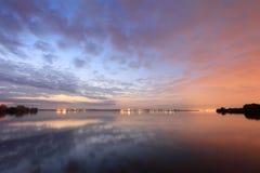 Sunset over the Shershnevskoe reservoir. Chelyabinsk, Russia Royalty Free Stock Photography