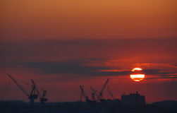 Sunset over Shipyard. With big Cranes Royalty Free Stock Photography