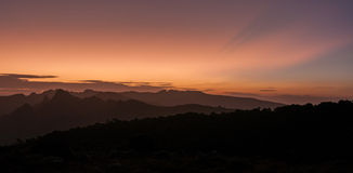 Sunset over Shira Cathedral and Plateau, Kilimanjaro Stock Image