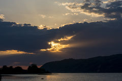 Sunset over the Silver lake on Danube river Stock Image