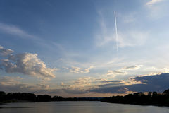 Sunset over the Silver lake on Danube river Stock Photo