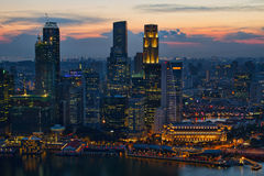 Sunset Over Singapore City Skyline Stock Photos
