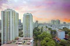 Sunset Over Singapore Housing Estate Royalty Free Stock Photo