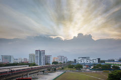 Sunset Over Singapore Housing Estate Royalty Free Stock Image