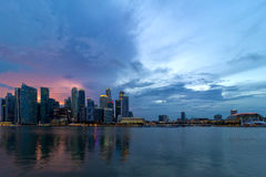 Sunset  over Singapore Modern Skyline Royalty Free Stock Photos