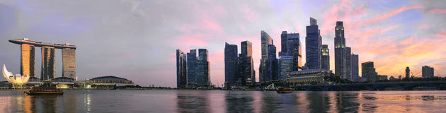 Sunset Over Singapore Skyline Panorama. Sunset Over Singapore Central Business District City Skyline Along Singapore River Panorama Stock Photography