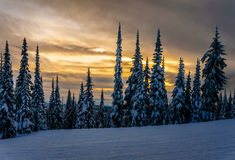 Sunset over the ski hills at Sun Peaks Stock Photography