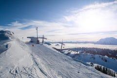 Sunset over ski station Royalty Free Stock Images