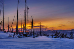 Sunset over ski trail Royalty Free Stock Images