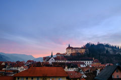 Sunset over Skofja Loka. Old town Royalty Free Stock Image