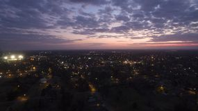 Sunset over Marion, SC via drone Royalty Free Stock Images