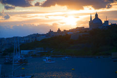 Sunset over Sliema Creek on the island of Malta Royalty Free Stock Images