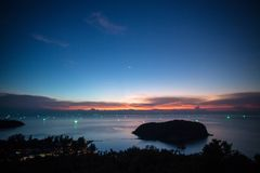 Sunset over the small Koh Ma island Stock Photography