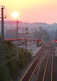 Sunset over Small Railwaystation Stock Image